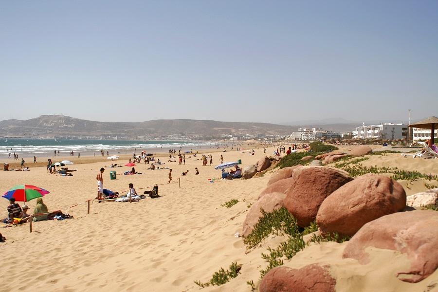 Пляж в Агадире, Марокко.