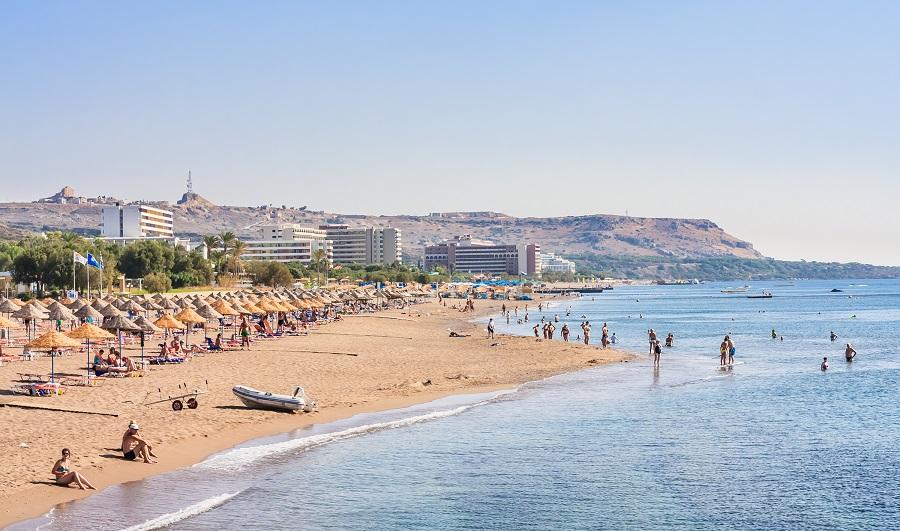 Пляж Фалираки, Родос, Греция.